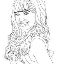 Retrato de Demi Lovato sonriendo para colorear - Dibujos para Colorear y Pintar - Dibujos para colorear FAMOSOS - DEMI LOVATO para colorear