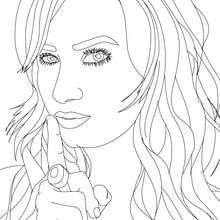 Dibujo de retrato de Demi Lovato seductora para colorear - Dibujos para Colorear y Pintar - Dibujos para colorear FAMOSOS - DEMI LOVATO para colorear