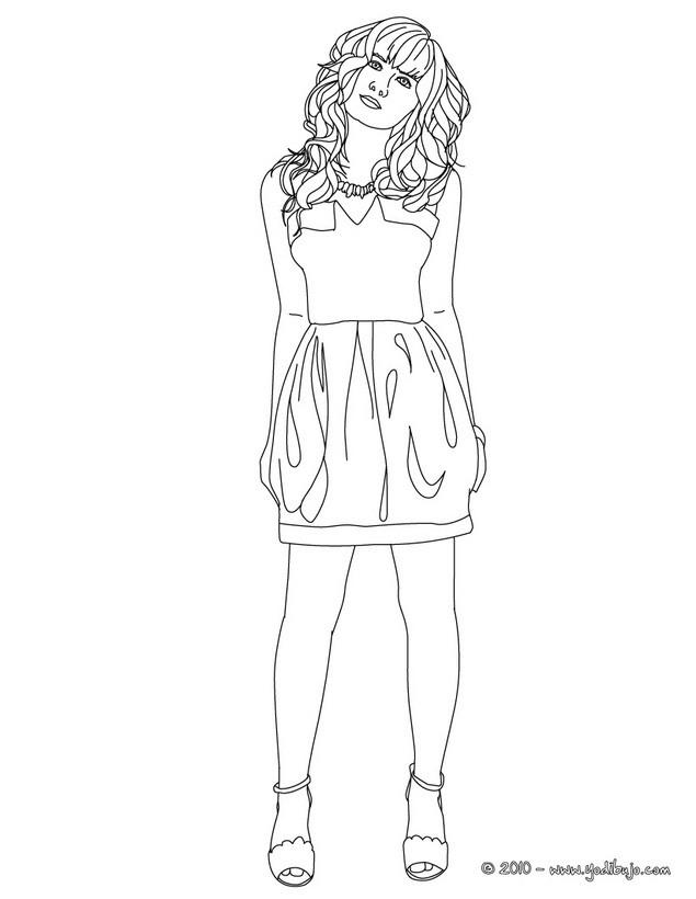 Dibujos de DEMI LOVATO para colorear - Demi Lovato en vestido de noche