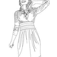 Dibujo para colorear : Demi Lovato feliz