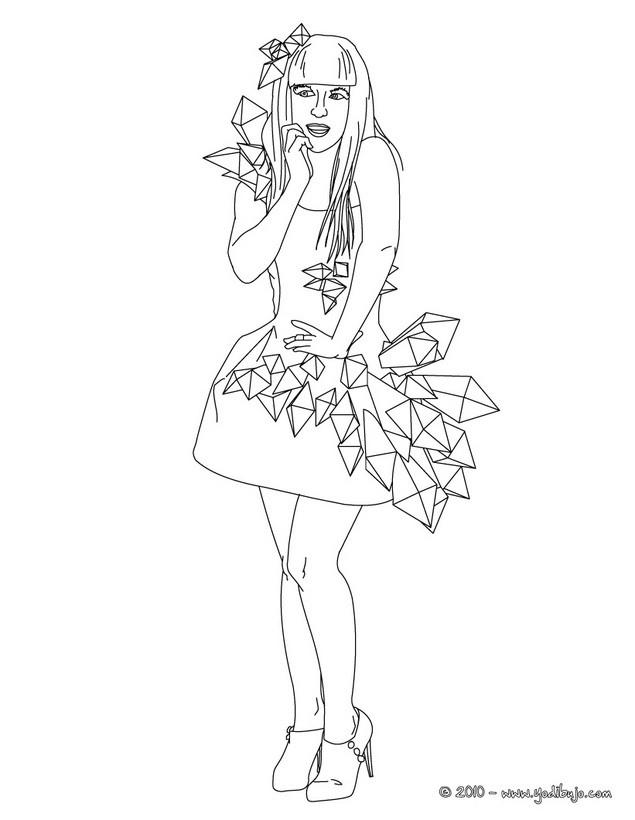 Dibujos para colorear lady gaga en vestido de noche - es.hellokids.com