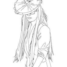 Dibujo de Lady Gaga con sombrero para colorear - Dibujos para Colorear y Pintar - Dibujos para colorear FAMOSOS - LADY GAGA para colorear