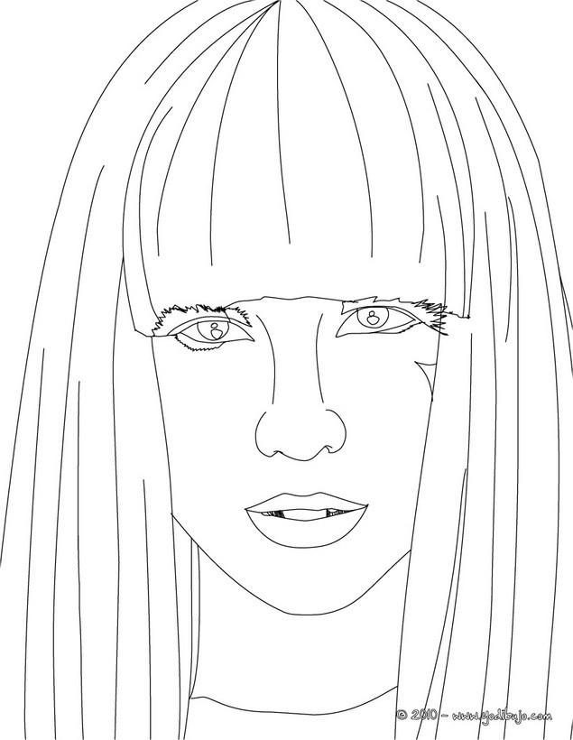 Dibujo para colorear : retrato de Lady Gaga