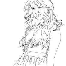 Dibujo para colorear Miley Cyrus Hannah Montana - Dibujos para Colorear y Pintar - Dibujos para colorear FAMOSOS - MILEY CYRUS para colorear