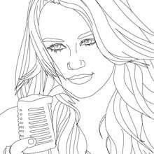 Dibujo para colorear : Miley Cyrus va a cantar