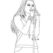 Dibujo para colorear Miley Cyrus cantando - Dibujos para Colorear y Pintar - Dibujos para colorear FAMOSOS - MILEY CYRUS para colorear