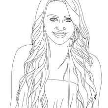 Dibujo para colorear : Miley Cyrus con pelo largo
