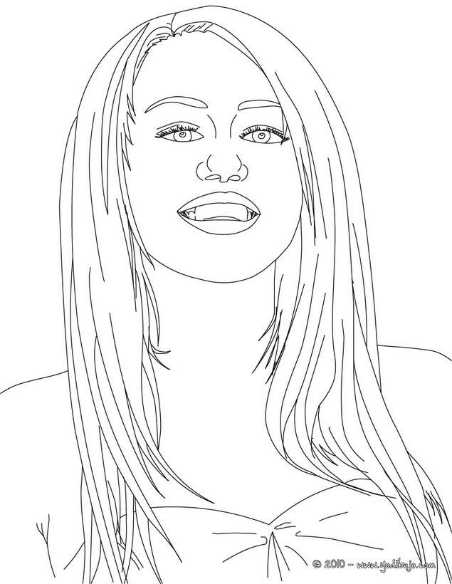 Dibujo para colorear : Retrato de Miley Cyrus