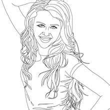 Dibujo para colorear : Mliey Cyrus sonriendo