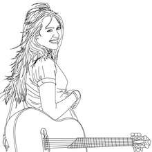 Dibujo para colorear : Miley con su guitarra