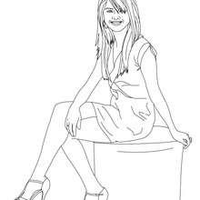 dibujo de Selena Gomez sentada para colorear - Dibujos para Colorear y Pintar - Dibujos para colorear FAMOSOS - SELENA GOMEZ para colorear