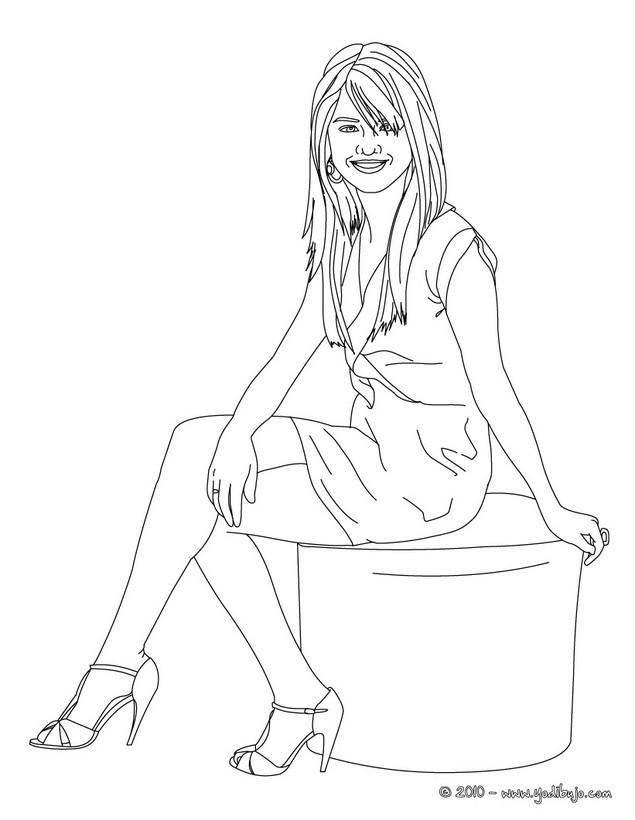 Dibujos Para Colorear Selena Gomez Sentada Es Hellokids Com