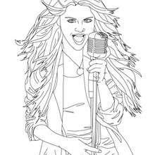 Dibujo para colorear Selena Gomez cantando - Dibujos para Colorear y Pintar - Dibujos para colorear FAMOSOS - SELENA GOMEZ para colorear