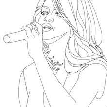 Dibujo de Selena Gomez en concierto para colorear - Dibujos para Colorear y Pintar - Dibujos para colorear FAMOSOS - SELENA GOMEZ para colorear