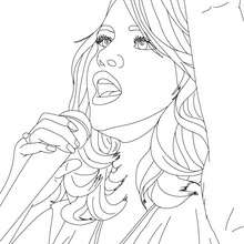 Retrato de Selena Gomez cantando