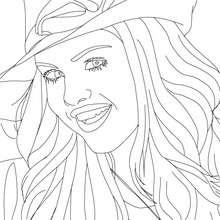 Dibujo para colorear : retrato de Selena Gomez con sombrero