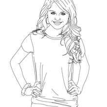 Dibujo para colorear Selena Gomez feliz - Dibujos para Colorear y Pintar - Dibujos para colorear FAMOSOS - SELENA GOMEZ para colorear