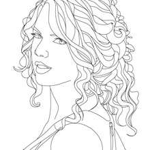 Dibujo para colorear : Retrato de Taylor Swift