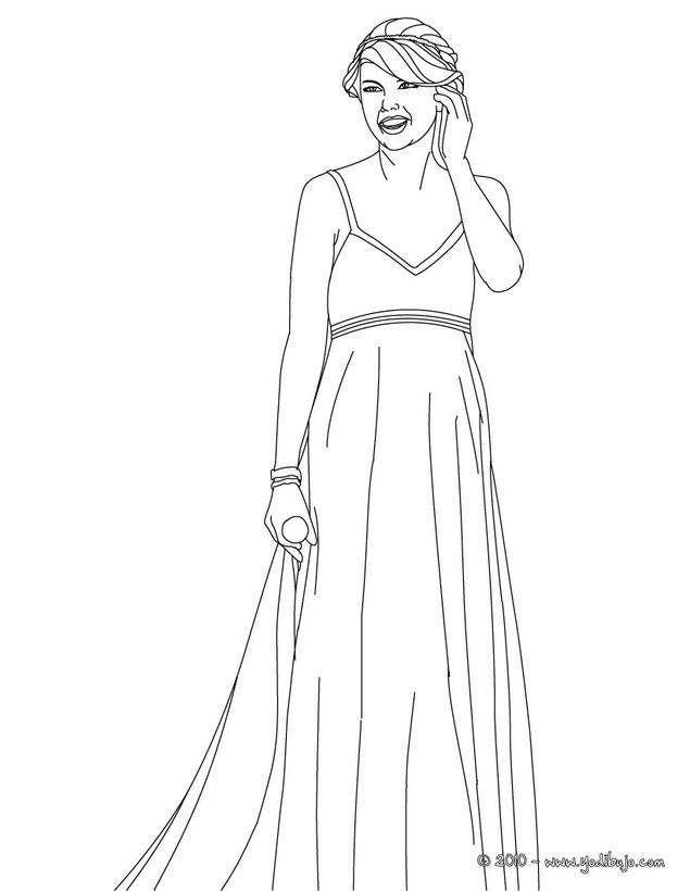 Dibujos para colorear taylor swift con un hermoso vestido - es ...