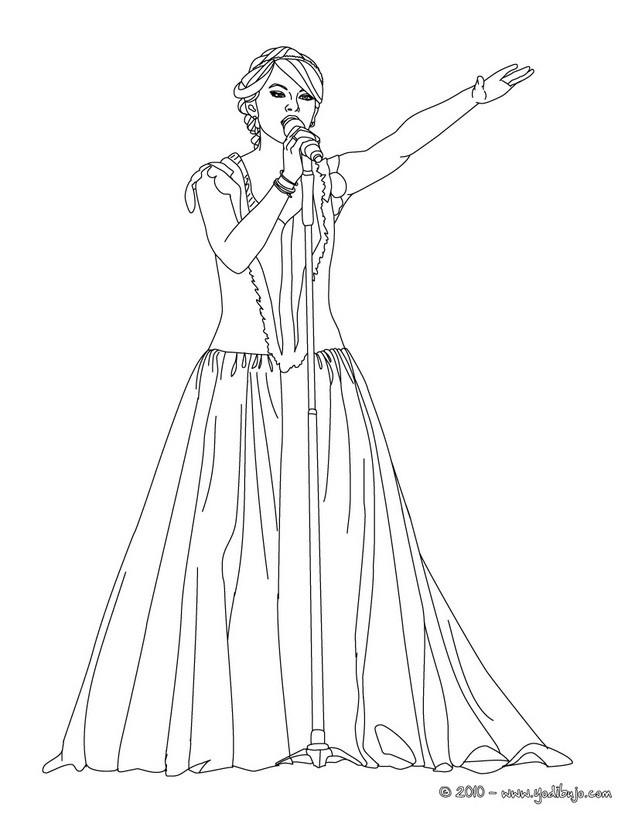 Dibujos para colorear taylor swift vestido largo - es.hellokids.com