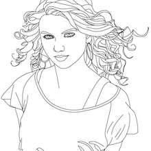 Dibujo para colorear : la hermosa Taylor Swift