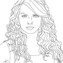 Retrato de la hermosa Taylor Swift para colorear