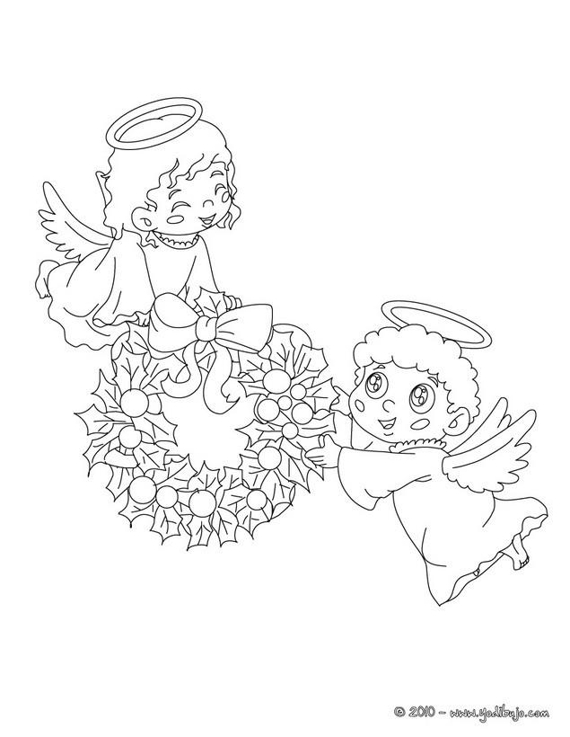 Dibujo para colorear : hermosos angeles de navidad con una corona de acebo