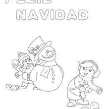 Dibujo para colorear : cartel muñeco de nieve
