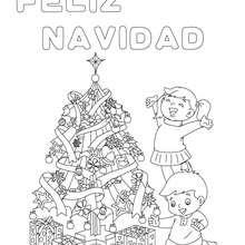 Dibujo para colorear : cartel arbol de navidad