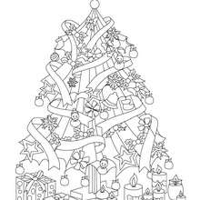 Dibujo para colorear : hermoso árbol de navidad con regalos