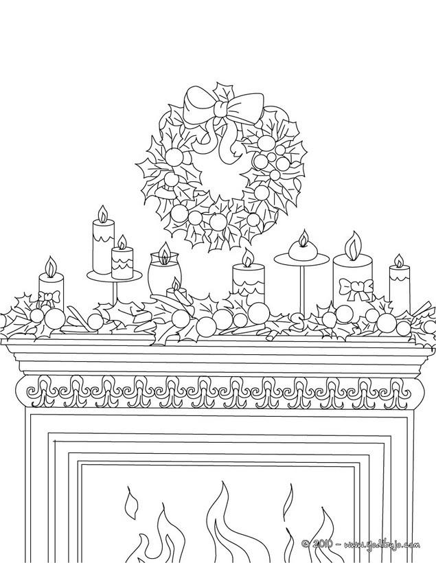 Dibujos para colorear chimenea decorada con velas y corona - Dibujos de chimeneas de navidad ...
