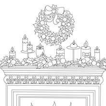 Dibujo para colorear : chimenea decorada con velas y corona de acebo para navidad