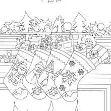 Dibujo para colorear calcetines de navidad con regalos navideños - Dibujos para Colorear y Pintar - Dibujos para colorear FIESTAS - Dibujos para colorear de NAVIDAD - CALCETIN NAVIDAD para colorear