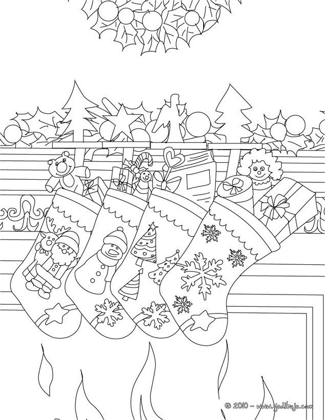Dibujo para colorear : calcetines de navidad con regalos navideños