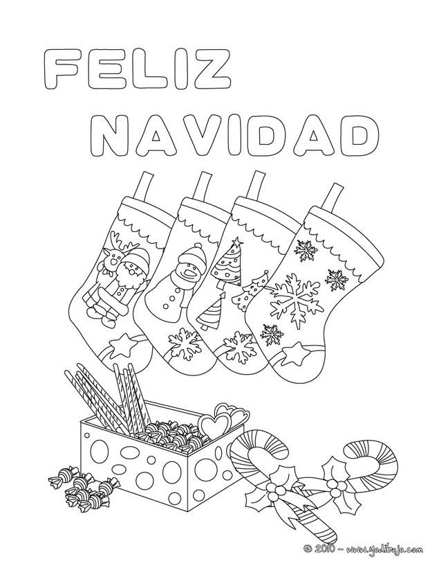 Dibujos para colorear cartel calcetines de navidad es - Dibujos tarjetas navidenas ...