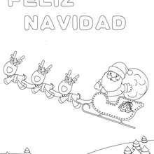 Dibujo cartel trineo navideño para colorear - Dibujos para Colorear y Pintar - Dibujos para colorear FIESTAS - Dibujos para colorear de NAVIDAD - Dibujos para colorear FELIZ NAVIDAD