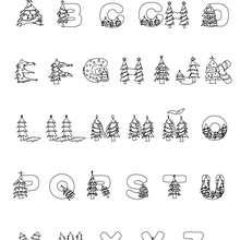 Dibujo para colorear : Abecedario Árbol de Navidad