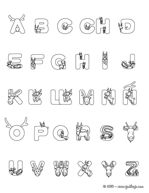 letras guirnalda dibujo para colorear abecedario renos navideos