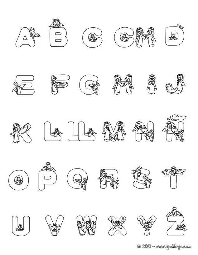 Spanish Alphabet Coloring Pages Printable : Dibujos para colorear letras Ángeles es hellokids