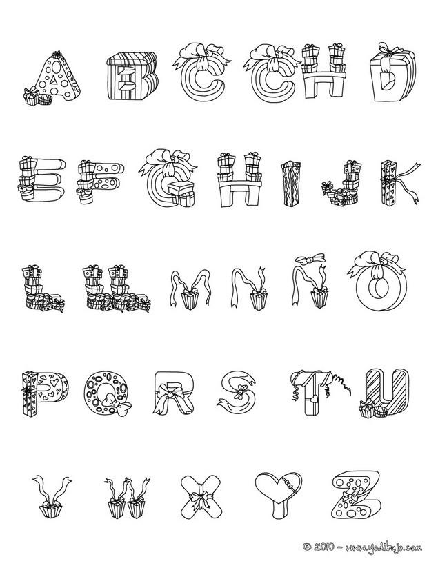 Dibujos para colorear letras regalos - es.hellokids.com
