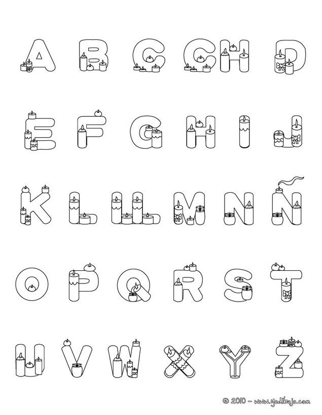 Dibujos para colorear letras velas - es.hellokids.com