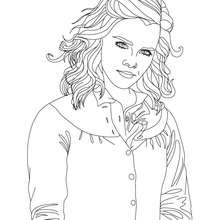 Dibujo para colorear : emma watson con una mano en un bolsillo