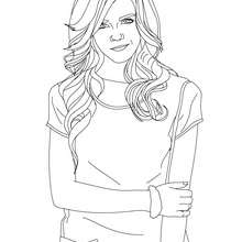 Dibujo para colorear : emma watson con camiseta de mangas cortas