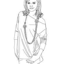 Dibujo de Emma Watson con mini flada para colorear - Dibujos para Colorear y Pintar - Dibujos para colorear FAMOSOS - EMMA WATSON para colorear