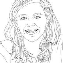 Dibujo para colorear : Retrato  de Emma Watson sonriendo