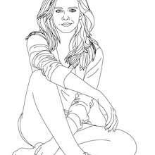 Dibujo para colorear Emma Watson sentada - Dibujos para Colorear y Pintar - Dibujos para colorear FAMOSOS - EMMA WATSON para colorear