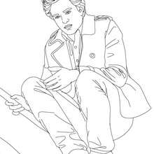 Dibujo para colorear : robet pattinson en cuclillas