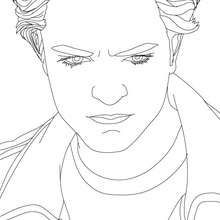 Dibujo para colorear : Retrato  hermoso robert pattinson enojado