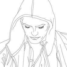 Dibujo para colorear Robert Pattinson con una capucha - Dibujos para Colorear y Pintar - Dibujos para colorear FAMOSOS - ROBERT PATTINSON para colorear