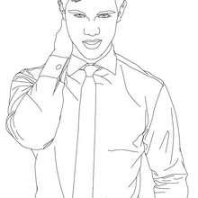 Dibujo para colorear : taylor lautner con corbata